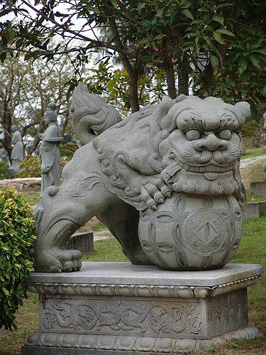 【中国製石獅子】 南獅子
