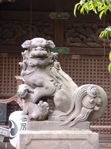 江戸狛犬(尾下がり) 『荏原神社』明治29年(1896) 品川区北品川